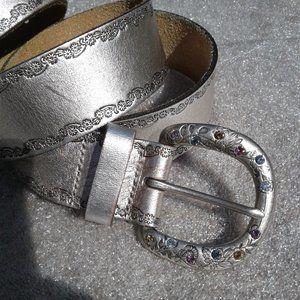 Boho Fossil floral embellished belt